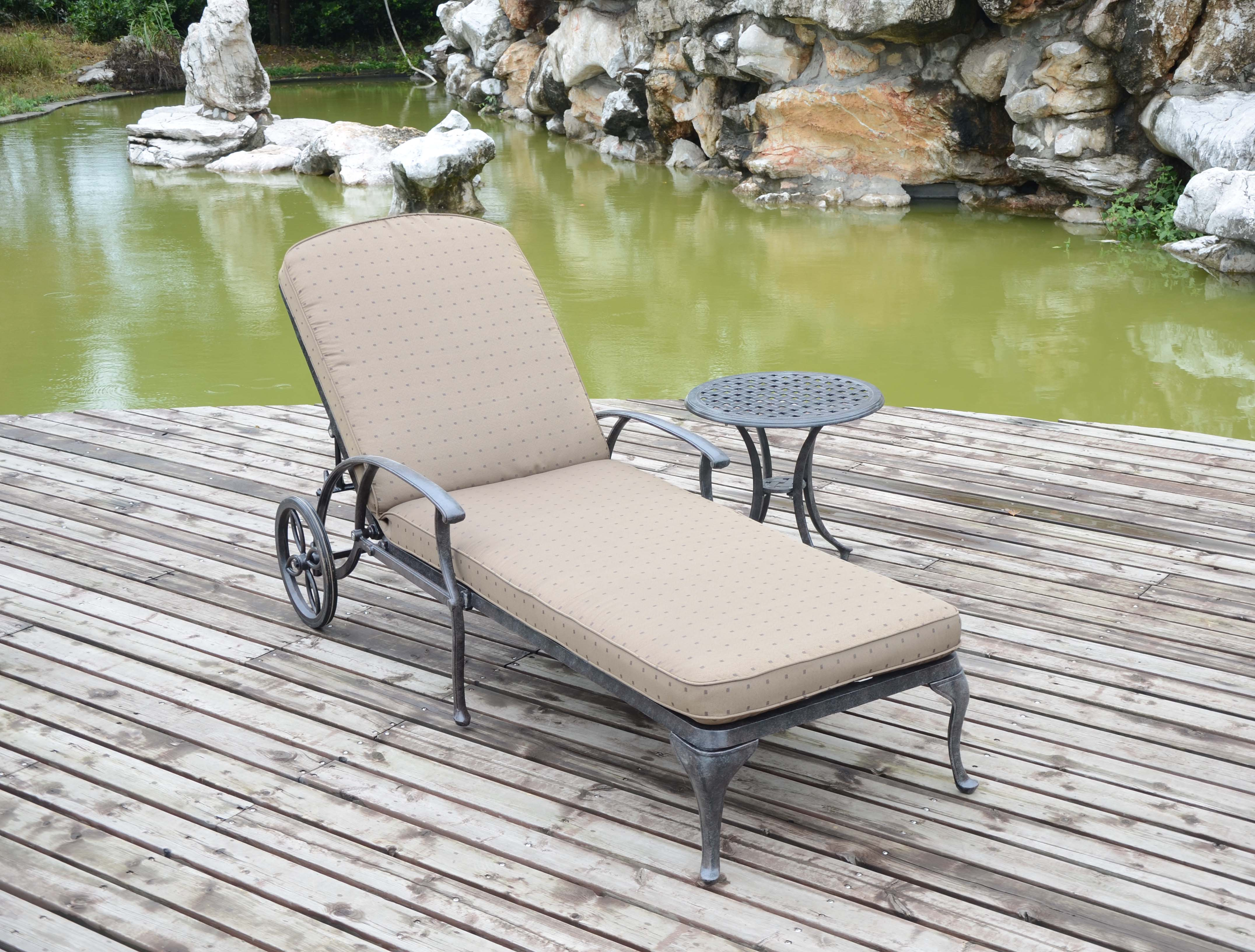 cast sunlounger and cushion